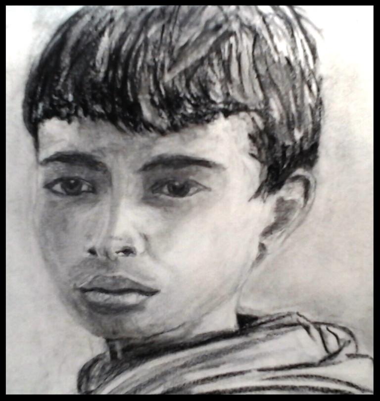 Indra.Crayon , fusain et craie. sur papier par B C Ruiz d'après photo N/B. 14 x 21   par B C Ruiz d'après photo personnelle 40 € ( Encadrement sur demande)