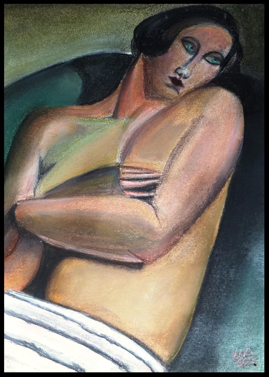 pastel , reproduction d'après photo d'une oeuvre de  Tamara de Lempicka par B C Ruiz. 21 x 28 non encadré. Encadrement sur demande. 50€'