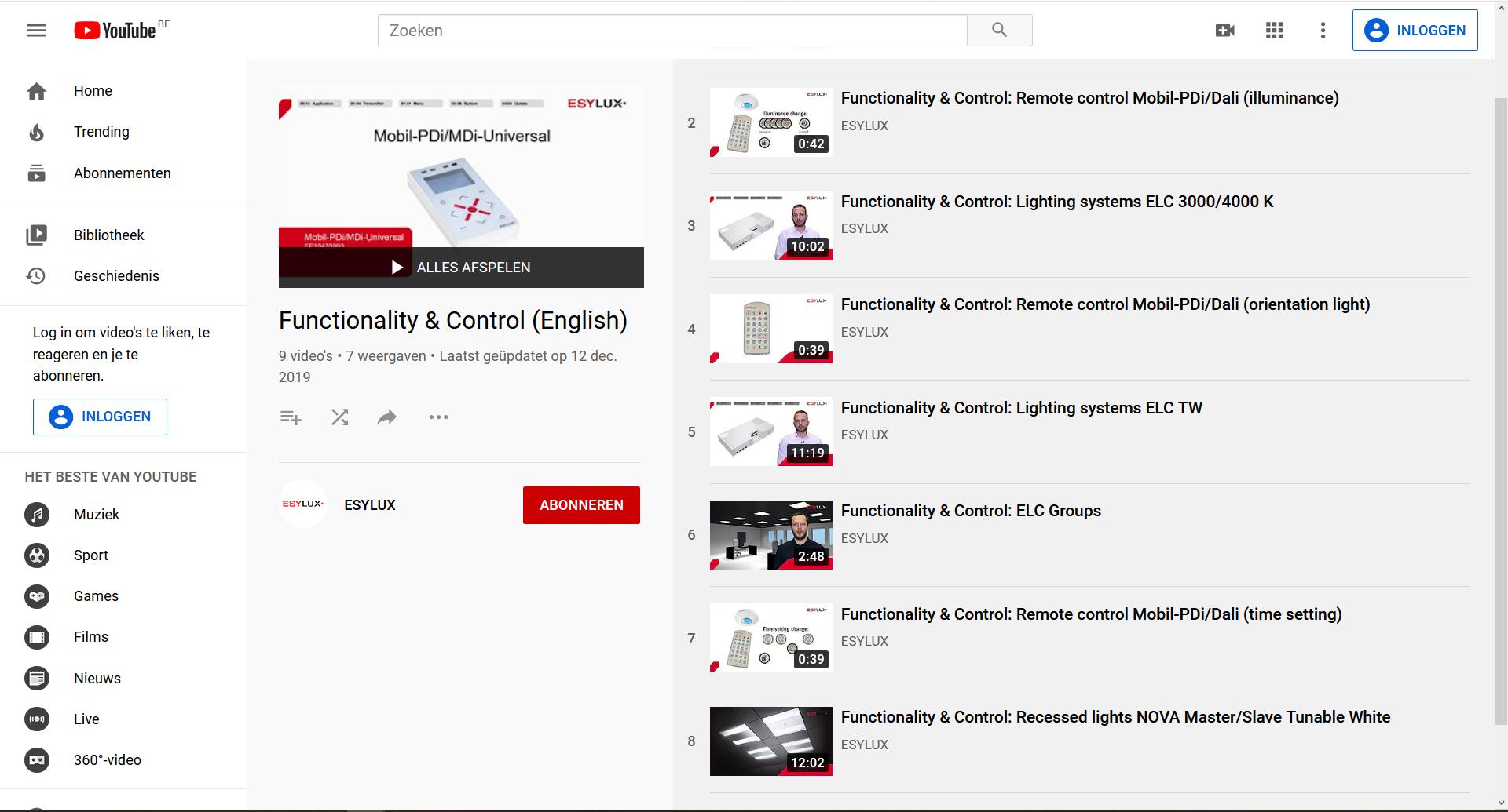 YouTube-kanaal over toepassing van regelsystemen
