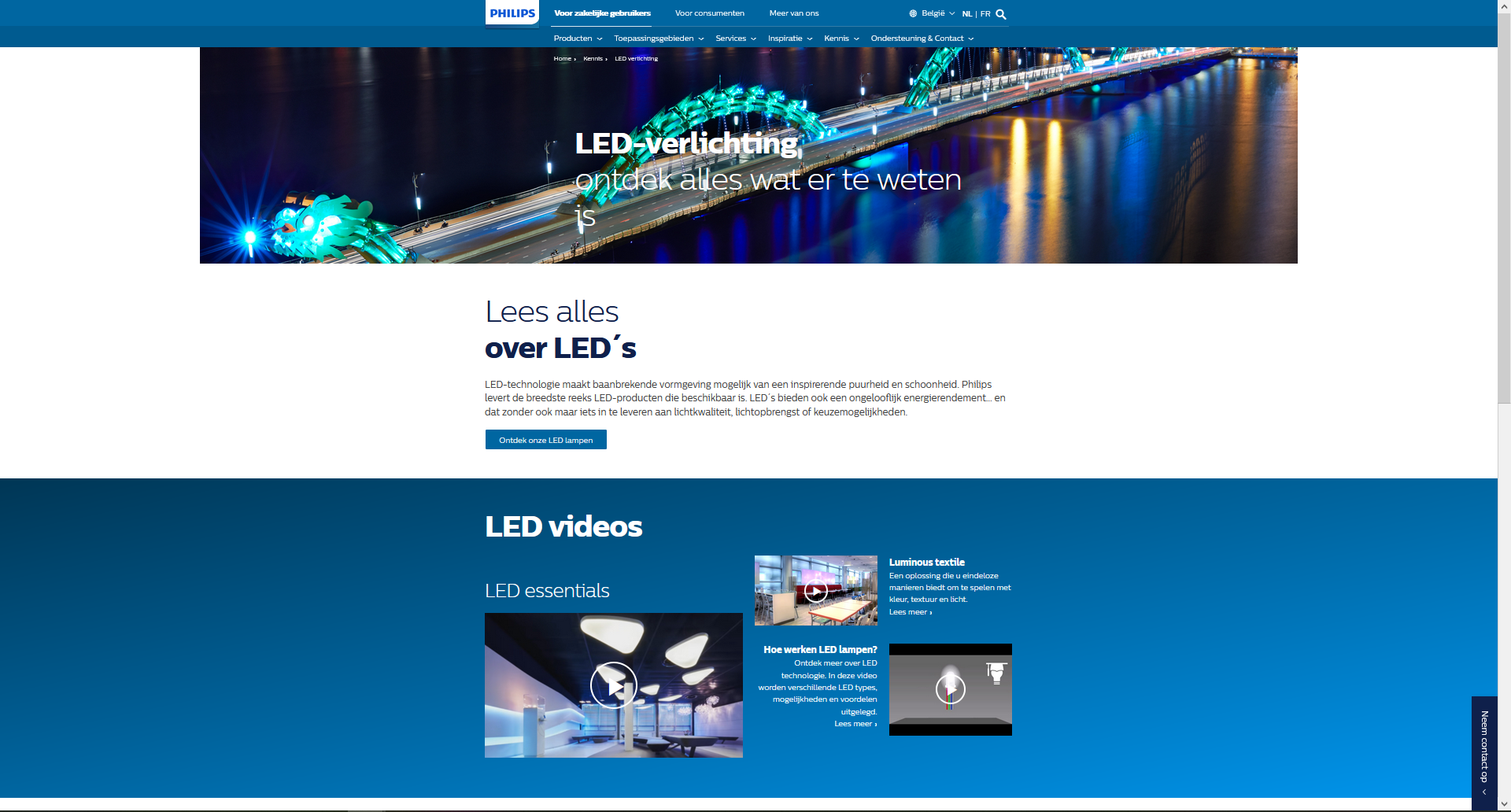 Informatieplatform van fabrikant rond verlichting