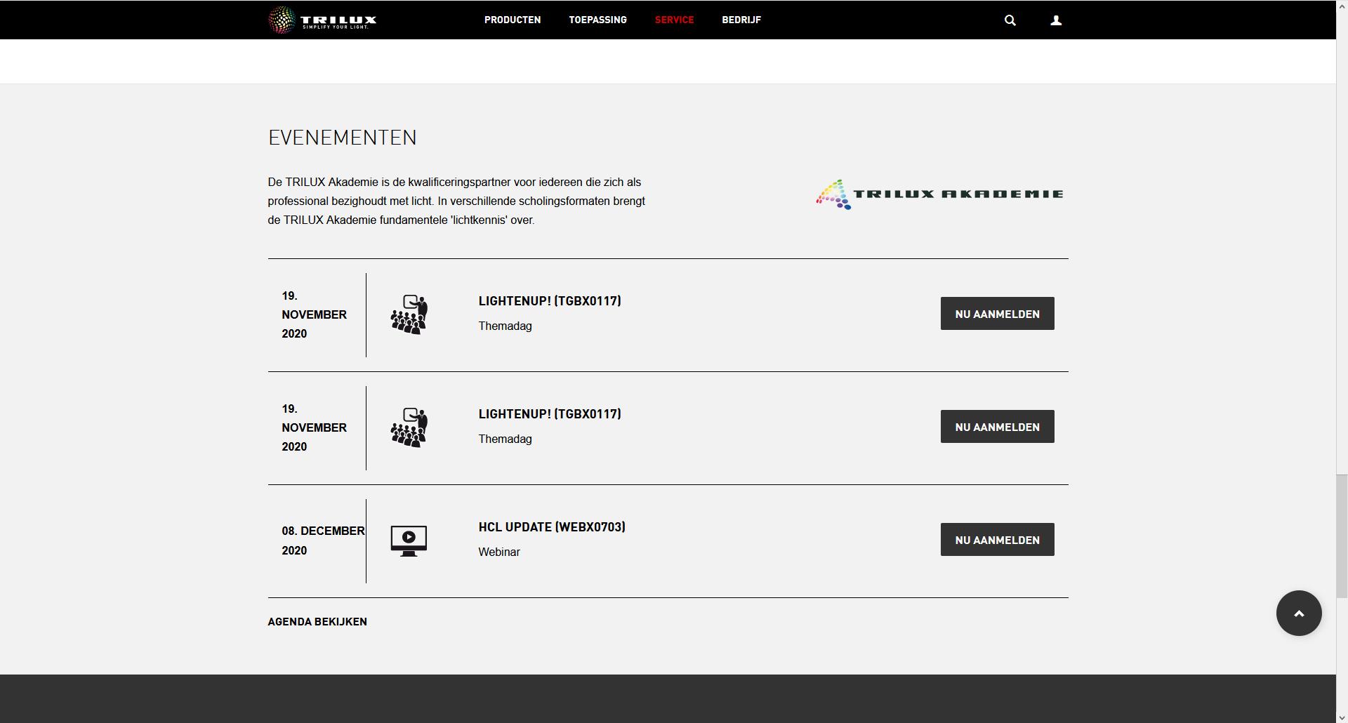 Via de website kan je aanmelden voor webinars of evenementen