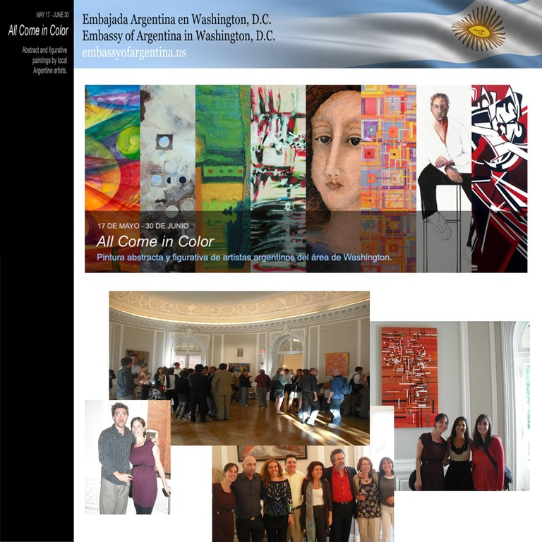 """""""All come in color"""" grupal exhibition, Embassy of Argentina, Washington DC,"""