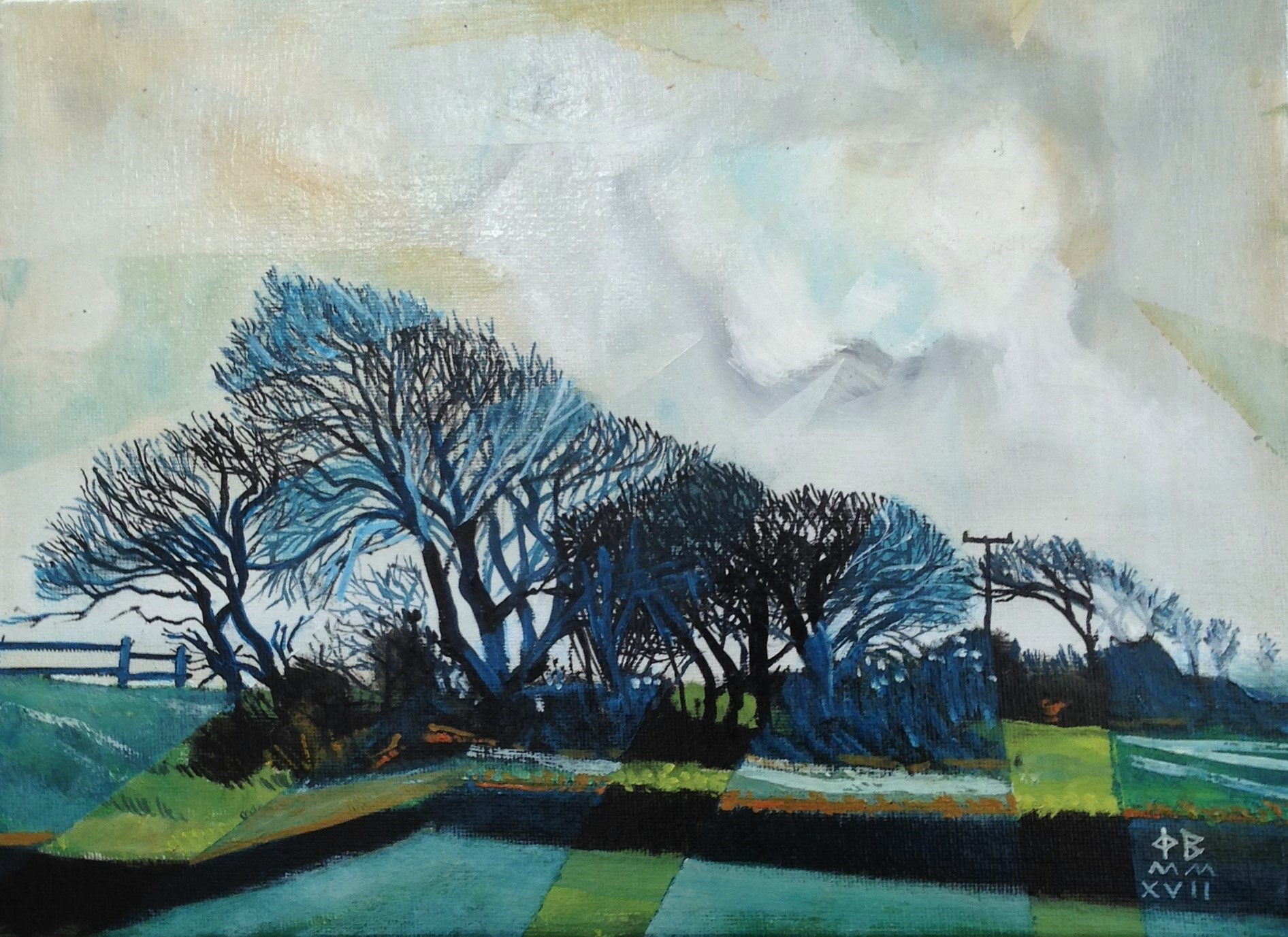 "DEVON LANDSCAPE. 9""x 12"".oil on canvas. £95.00."