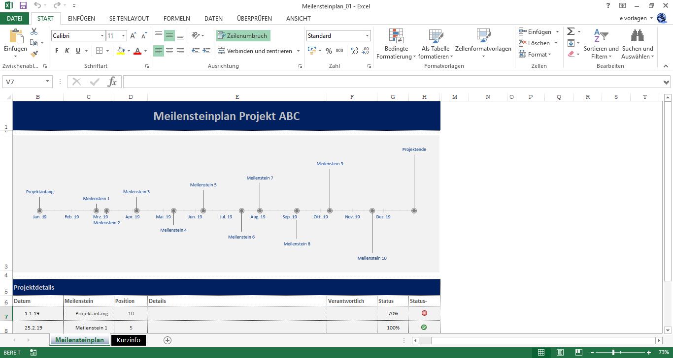 Excel Meilensteinplan