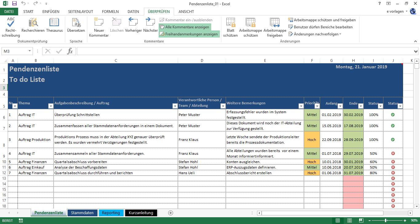 Excel Pendenzenliste