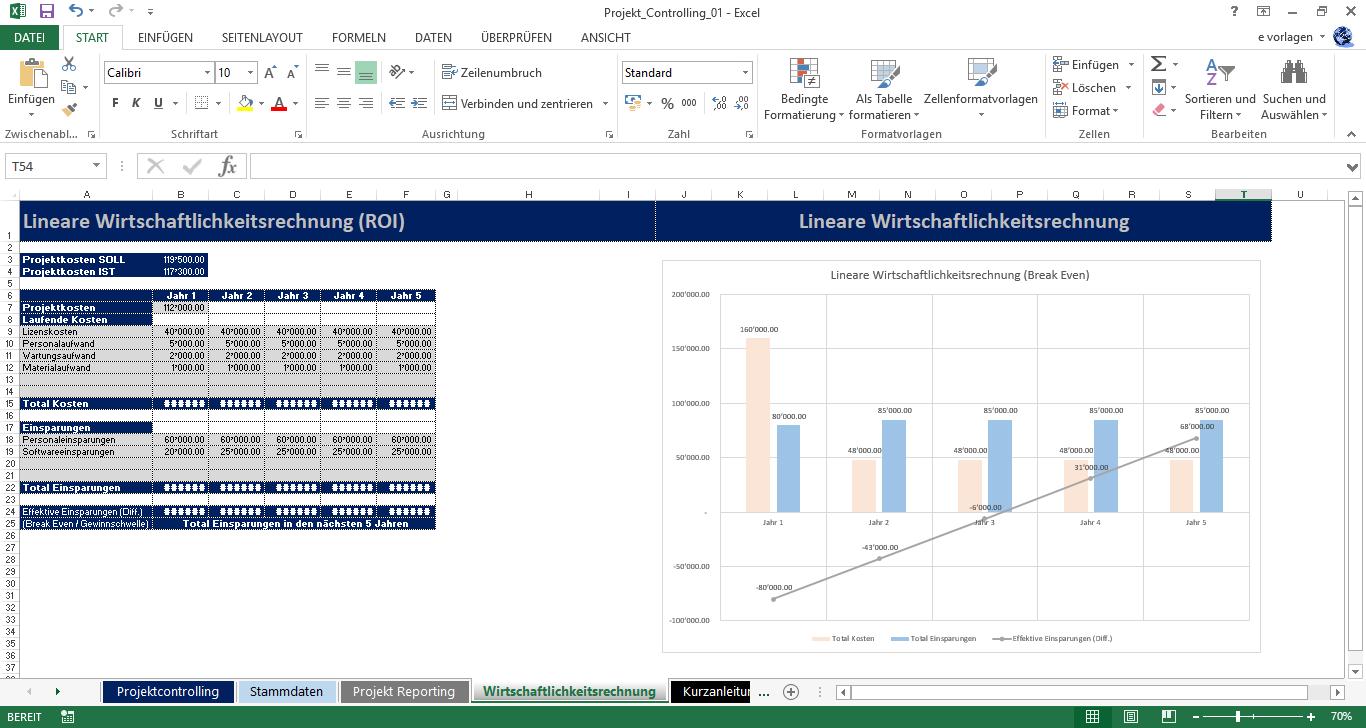 Excel Wirtschaftlichkeitsberechnung