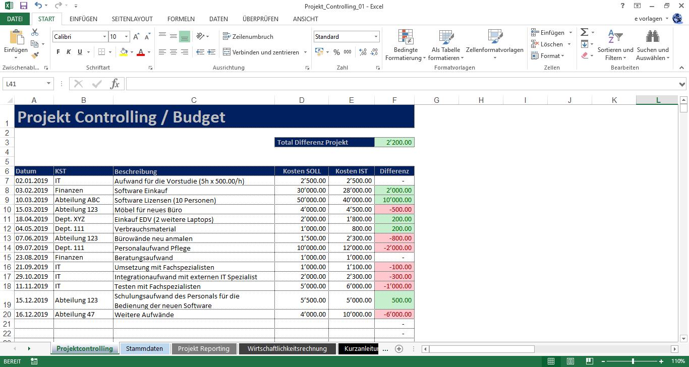 Excel Projekt Controlling
