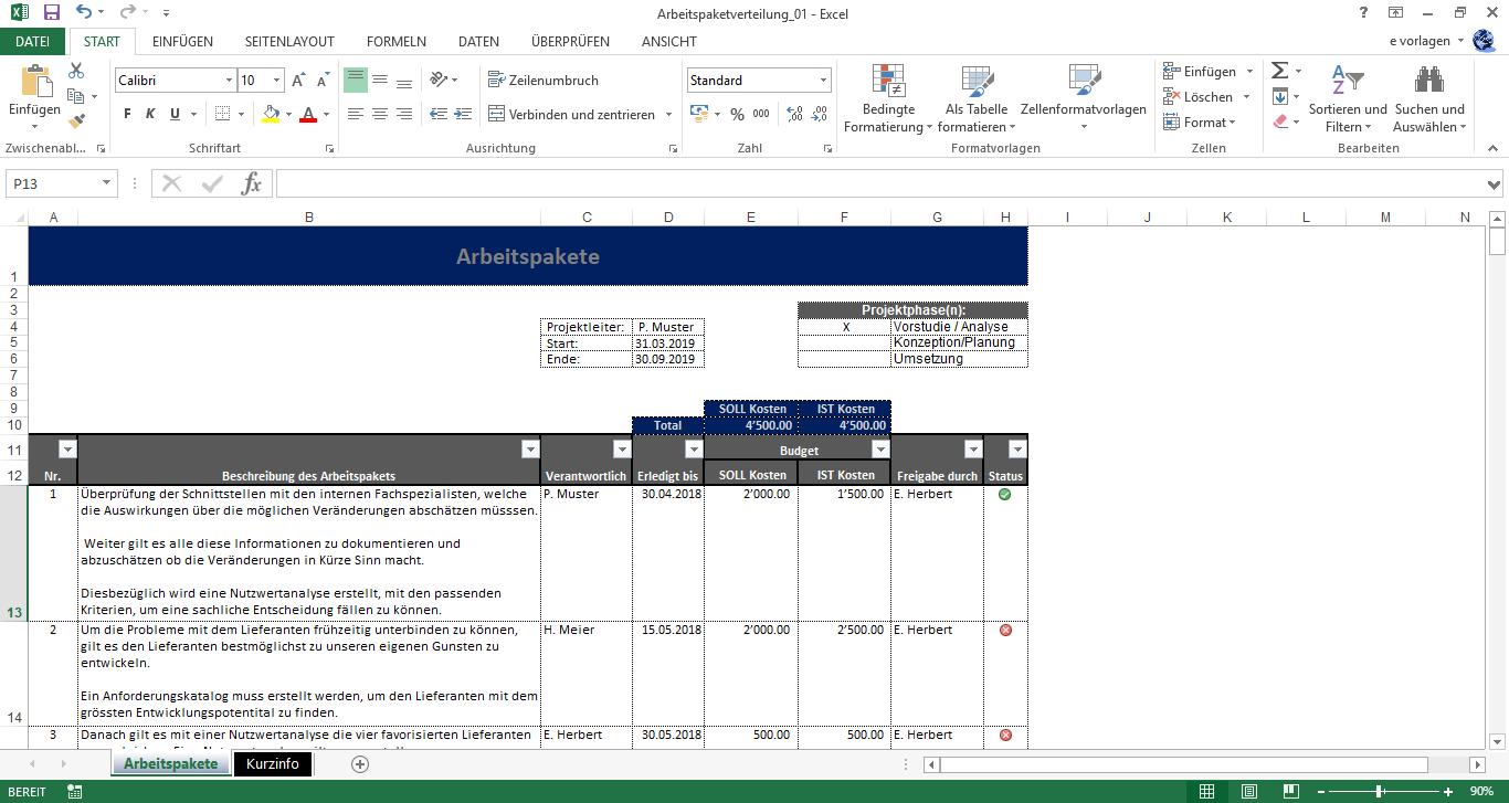 Excel Arbeitspaketverteilung