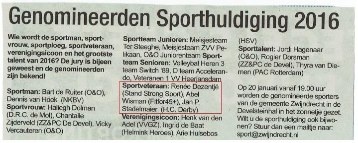 Sporthuldiging januari 2016 (Sportveteraan Renée Dezentjé )