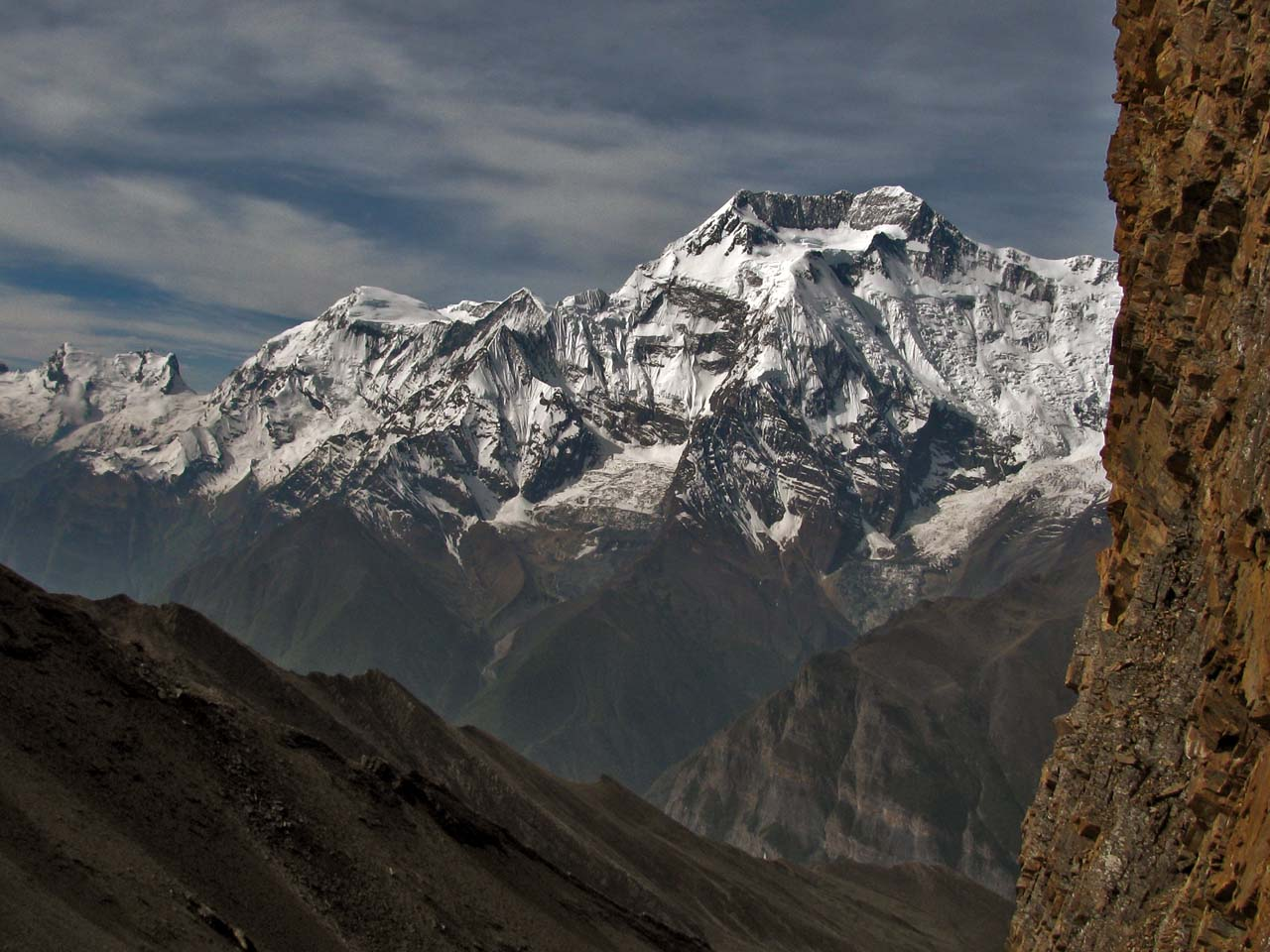 le col du Kang La en regardant vers les Annapurnas