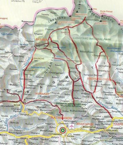 carte de la région du Lantang et de Gosainkund