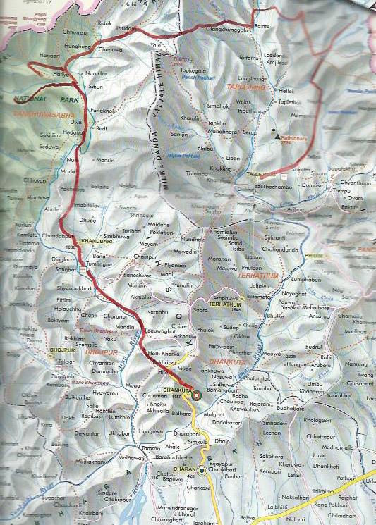 carte de la région du Kanchenjunga jusqu'à la vallée de l'Arun