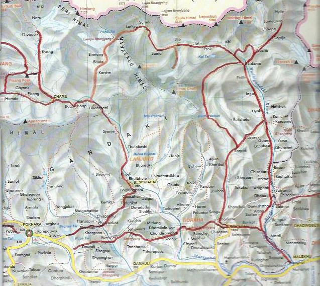 carte de la région du Manaslu, y compris Tsum et Gorkha