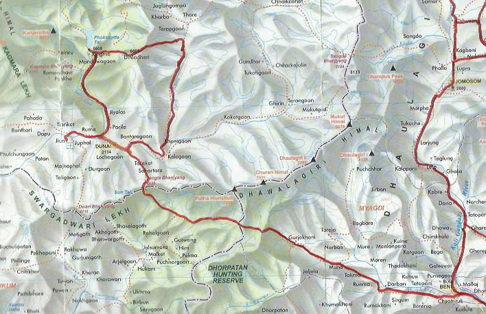 Carte du bas Dolpo et Dhorpatan