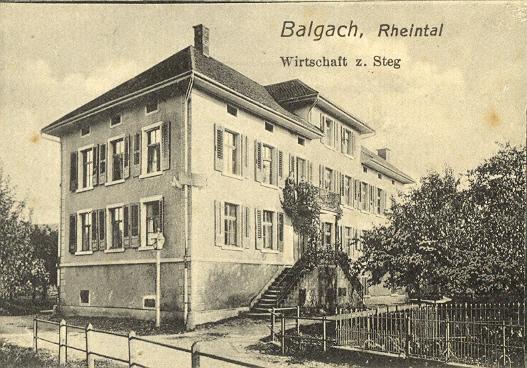 Nach der Stickereikrise diente das Fabrikgebäude als Wirtschaft z. Steg.