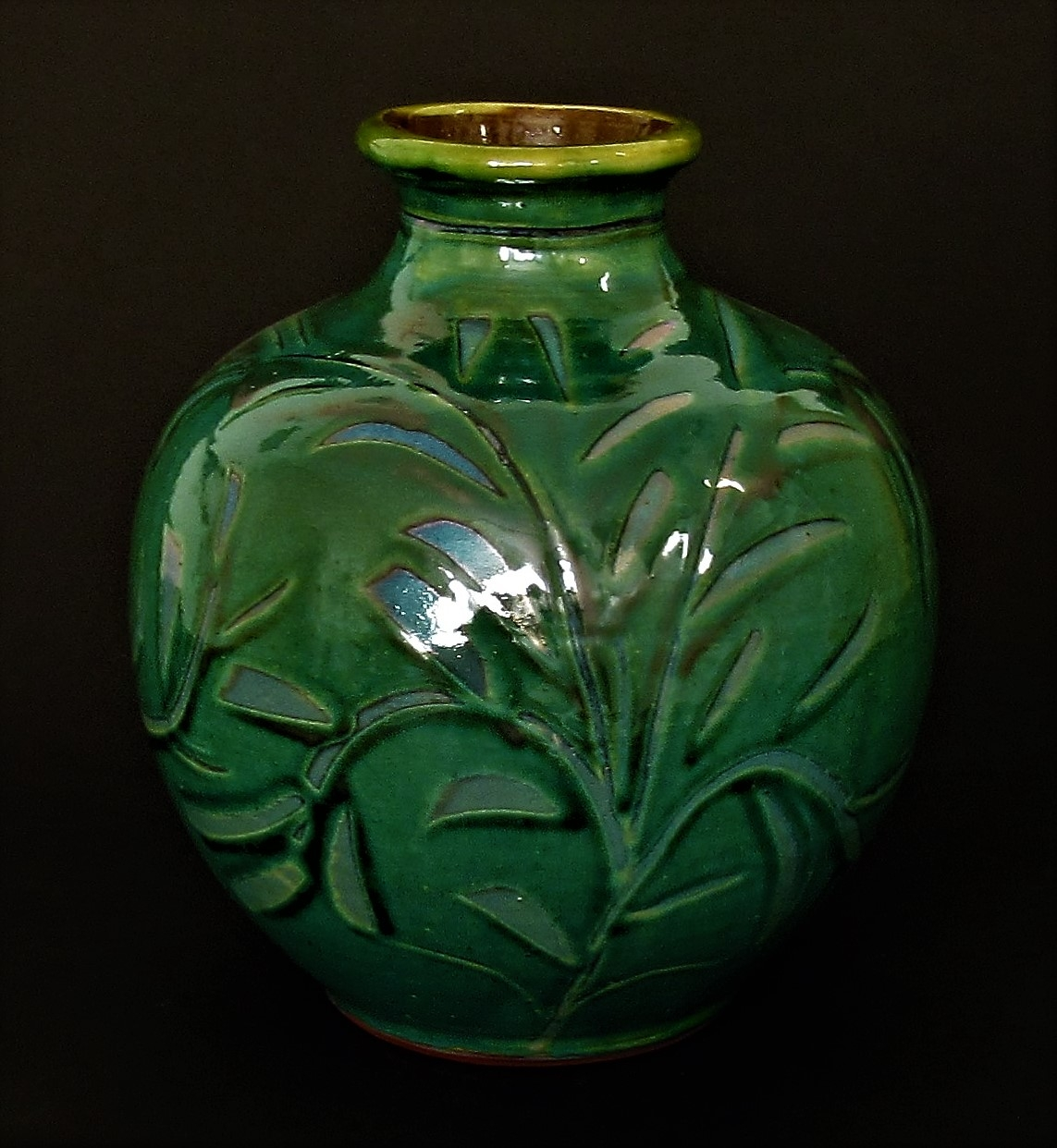 Ovid Bottle Vase. Copper green with foliate lustre. £120. SOLD