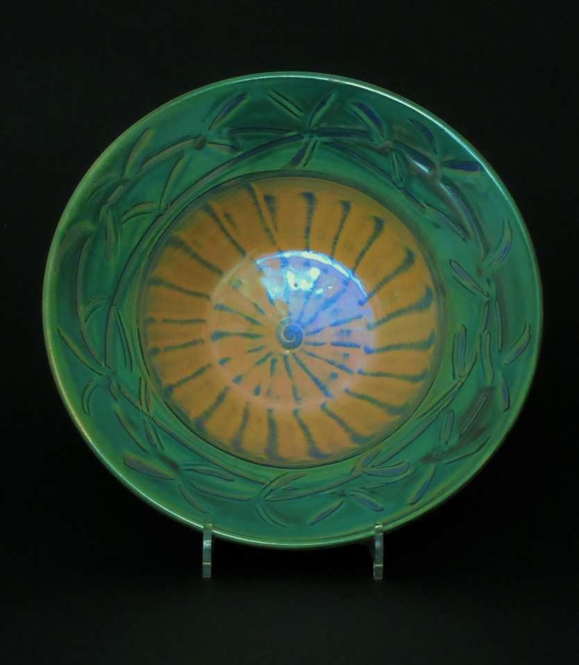 Large slipware-lustre dish. Copper green foliate. £80