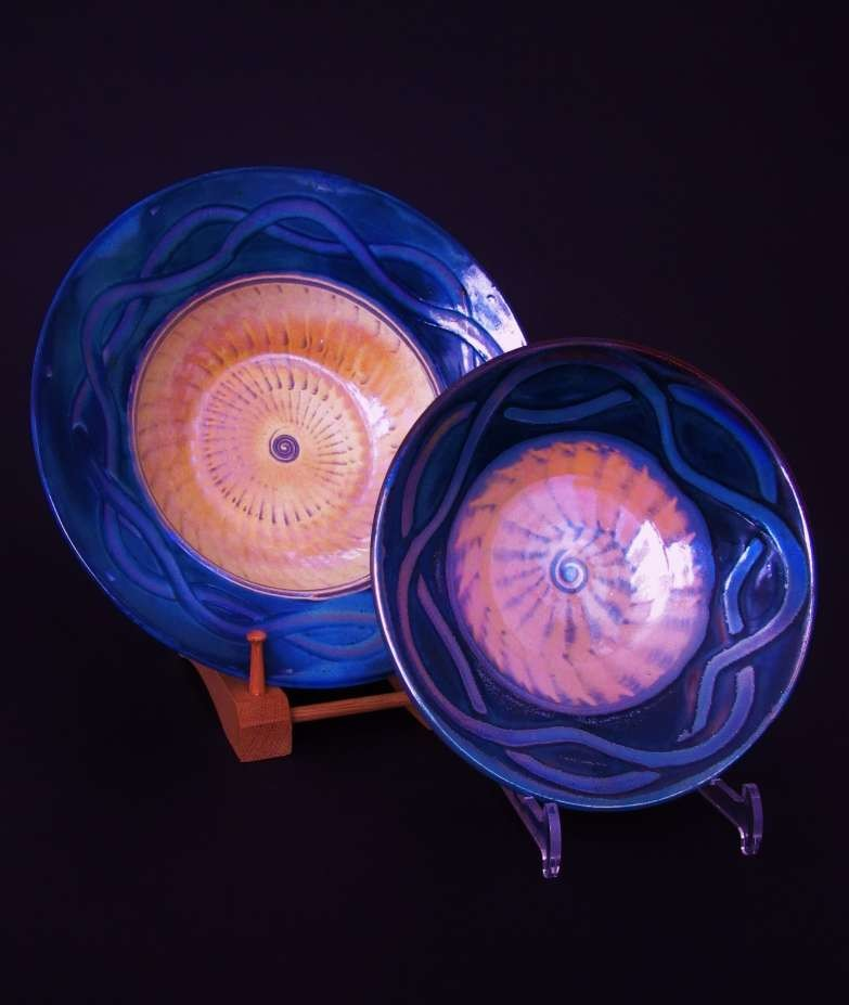 Pair of slipware-lustre dishes (12''dia).'Celtic-blue'. £95/£75  SOLD
