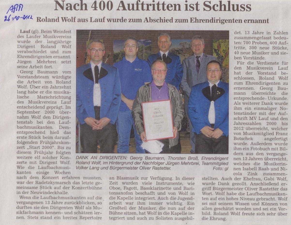 Verabschiedung Roland Wolf 26.10.2012