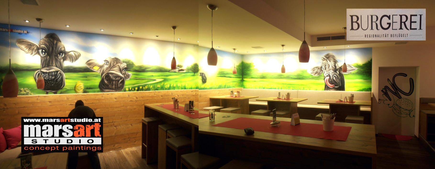 Exklusive Wandmalerei / Burger-Restaurant