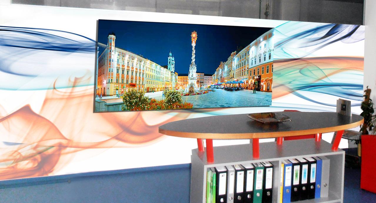 Wallpainting / Büroraumgestaltung ; Leinwand- / Wandmalerei Kombination