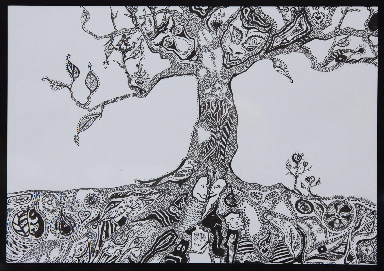 """""""Traumbaum"""" Tusche auf Papier, mit Rahmen 44x53"""