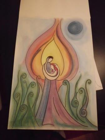 Pastellkreide auf Papier