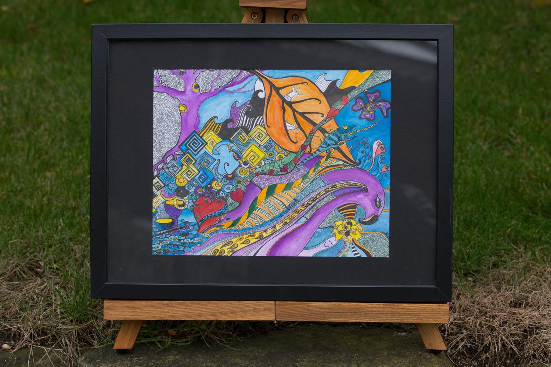 Tusche und Aquarell auf Papier, mit Rahmen 32x42