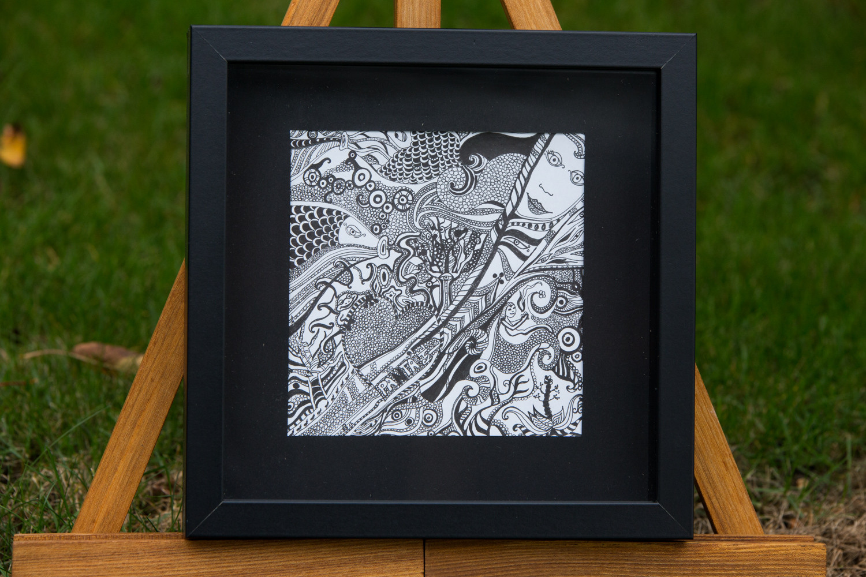 """Panta Rhei"" Tusche auf Papier, mit Rahmen 25x25"