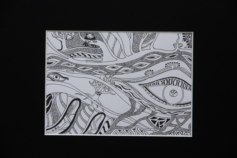 Tusche auf Papier, mit Rahmen 25x31