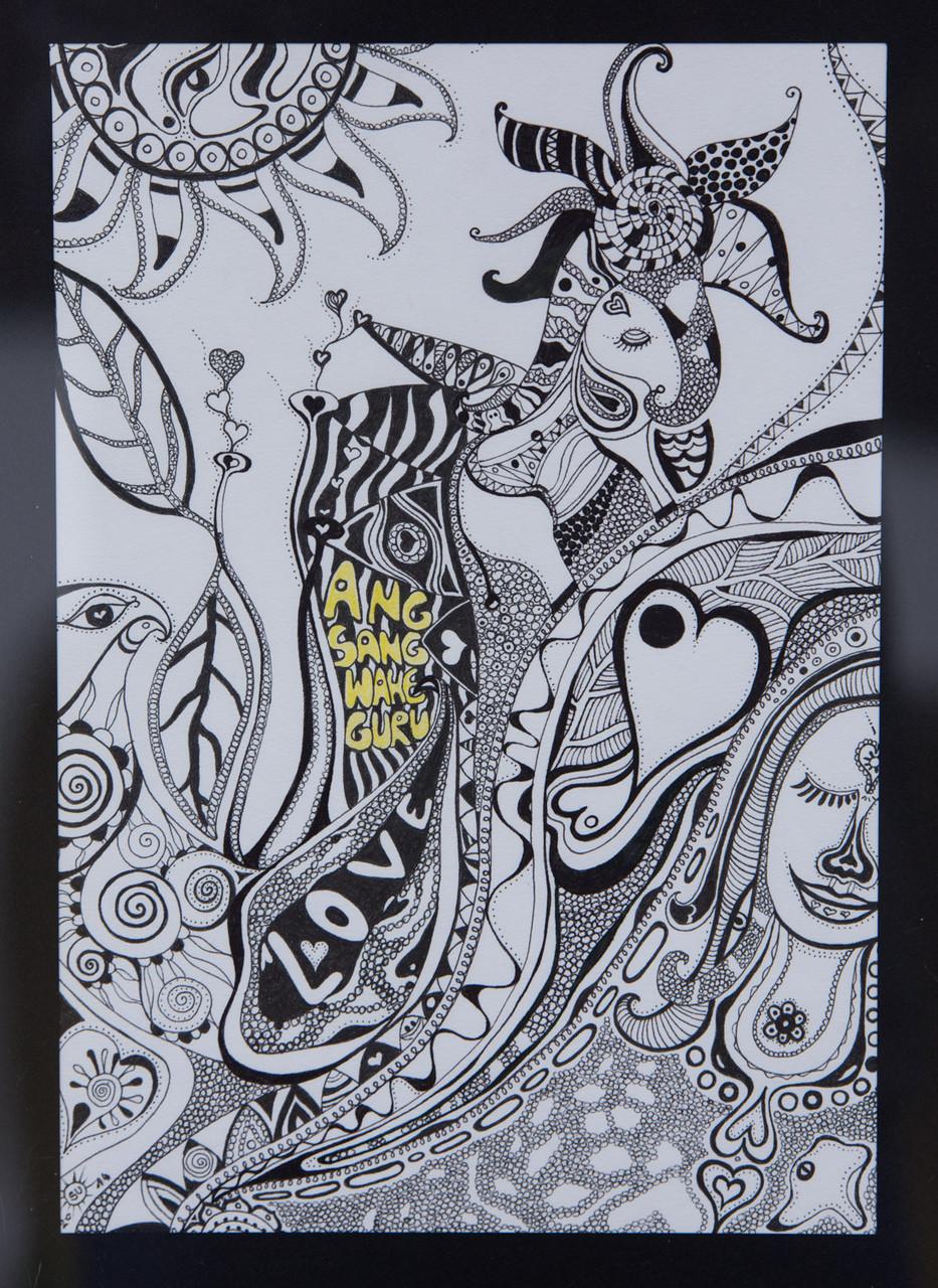 Tusche auf Papier, mit Rahmen 43x33