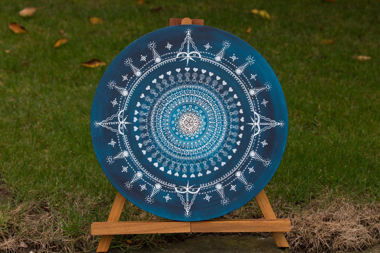 Mandala auf Leinwand, Durchmesser 40cm