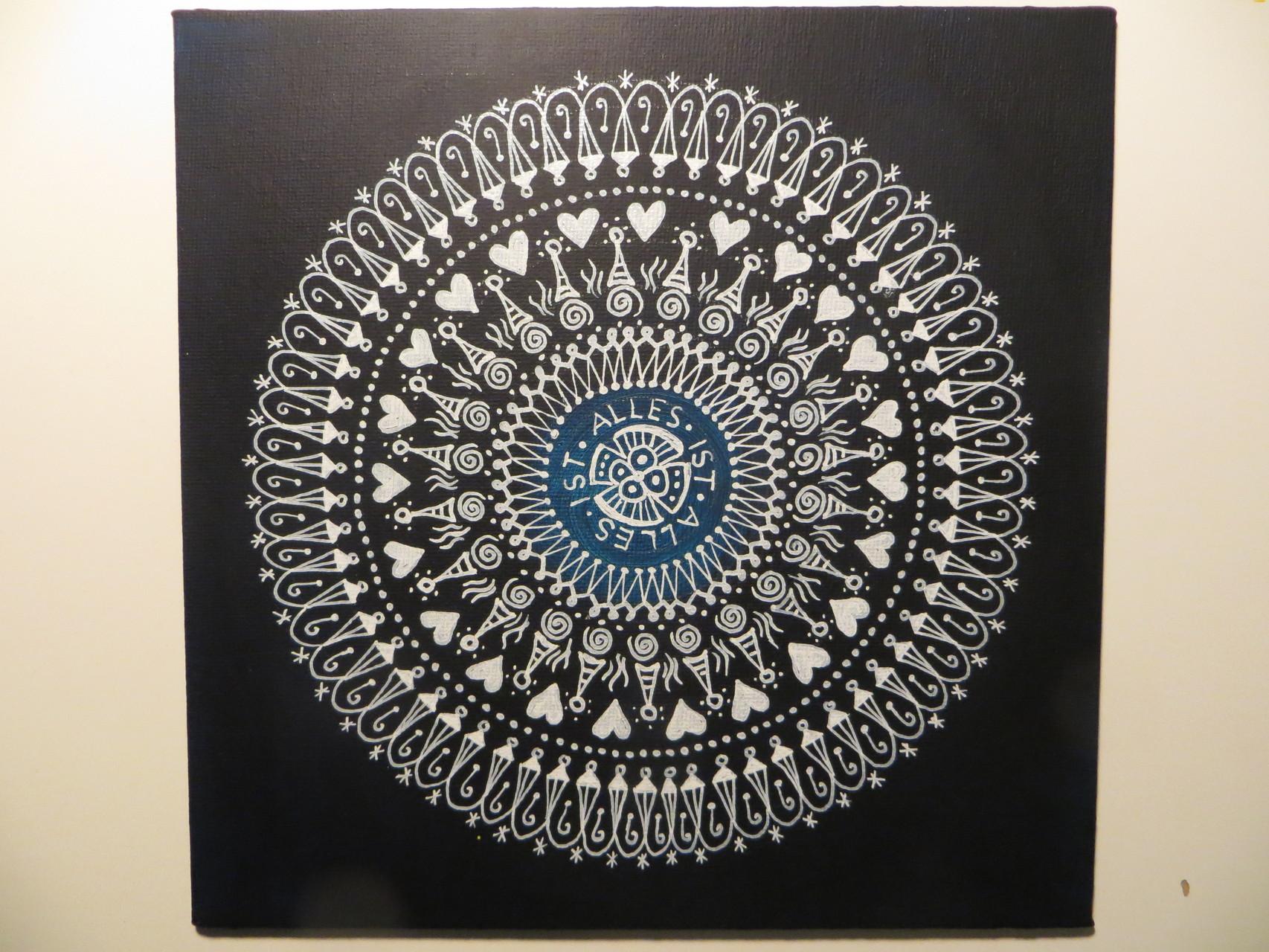 """Alles ist"" Mandala auf Malkarton, 20x20"