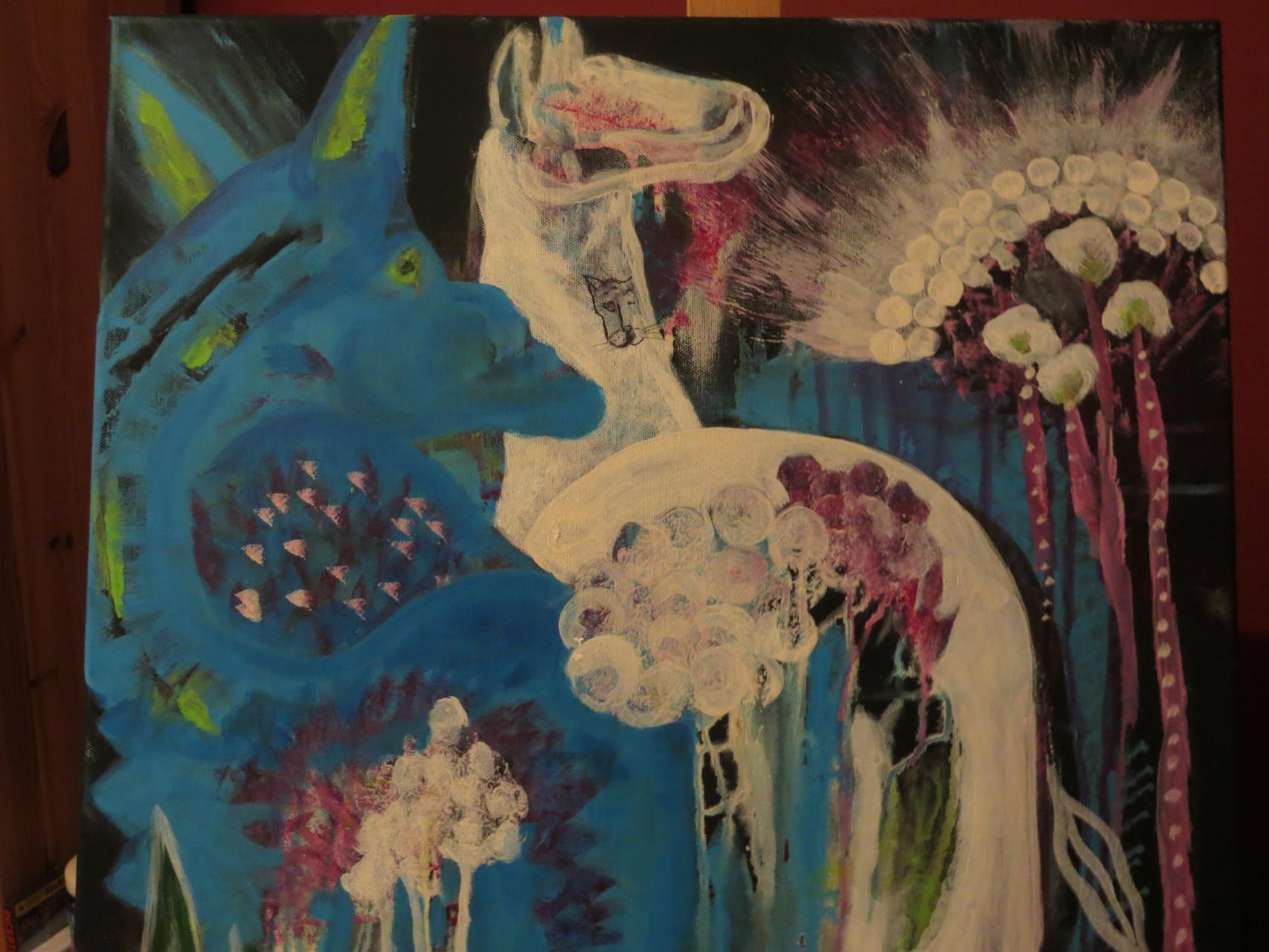 blauer Drache, weißes Pferd