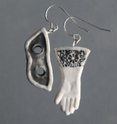 Charm earrings: black mask