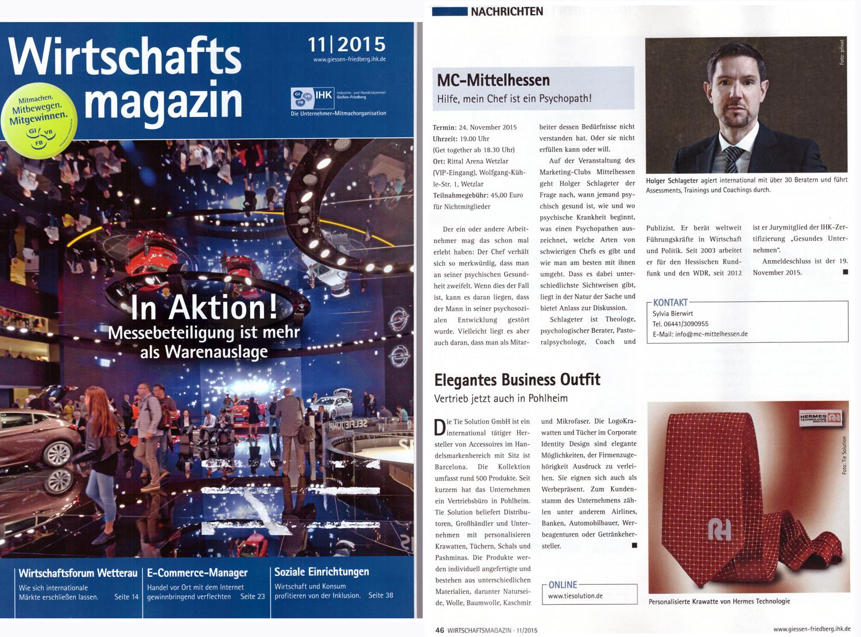 Wirtschaft Magazin berichtet über die Tie Solution GmbH November 2015