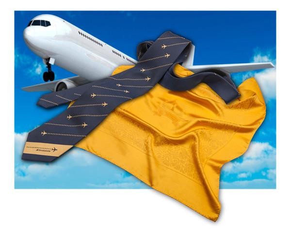 Gewebte Satin Seidenschals und Krawatten mit Corporate Identity Design für Transaero Airlines