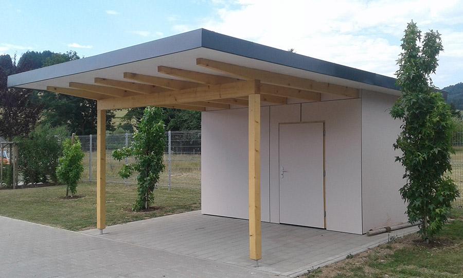 Fassadenplatten - Geräteschuppen mit Freisitz