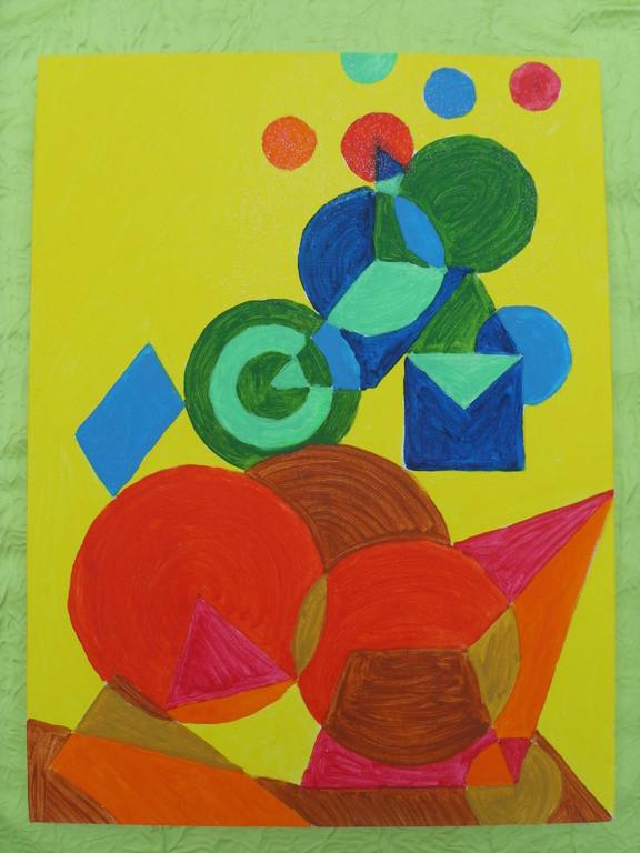 """""""Asymétrie jaune"""" peinture sur toile 40x30cm, à l'acrylique, cm, 18/11/11"""