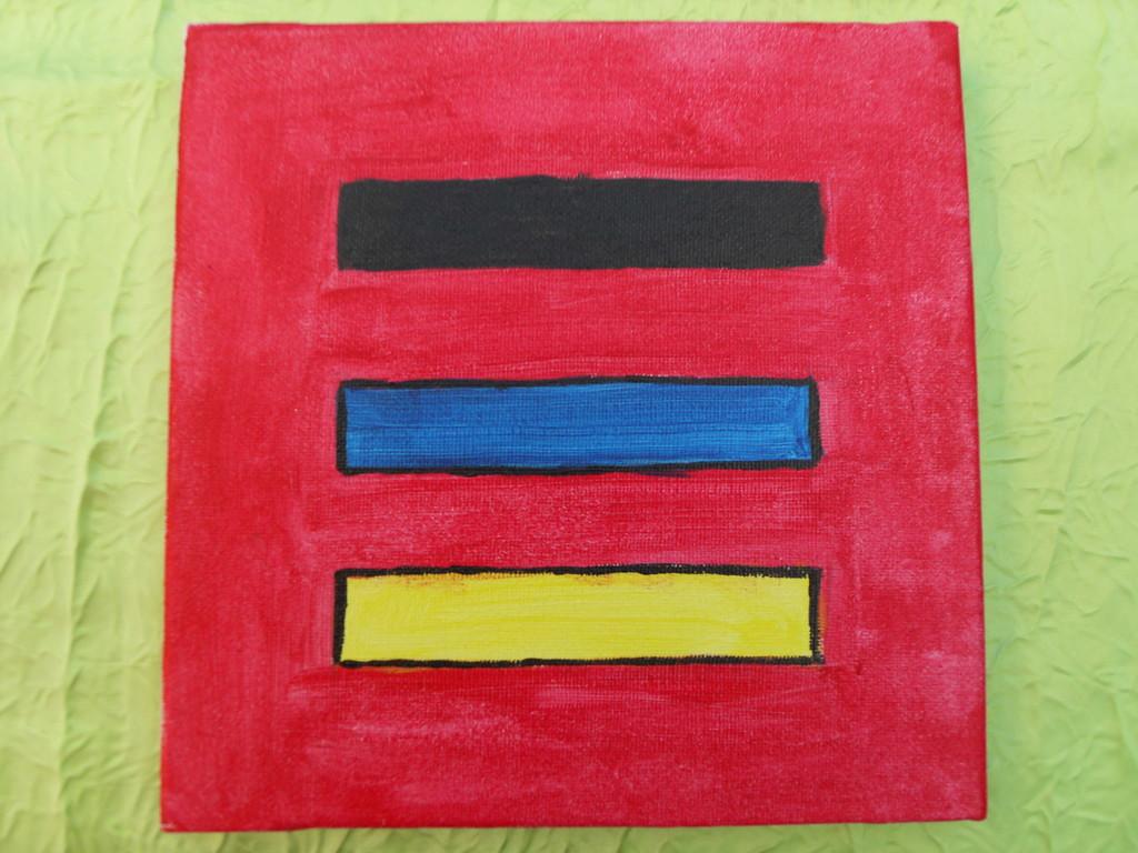 """""""3 traits"""" peinture acrylique sur toile 20x20cm, le 02/01/12, cm"""