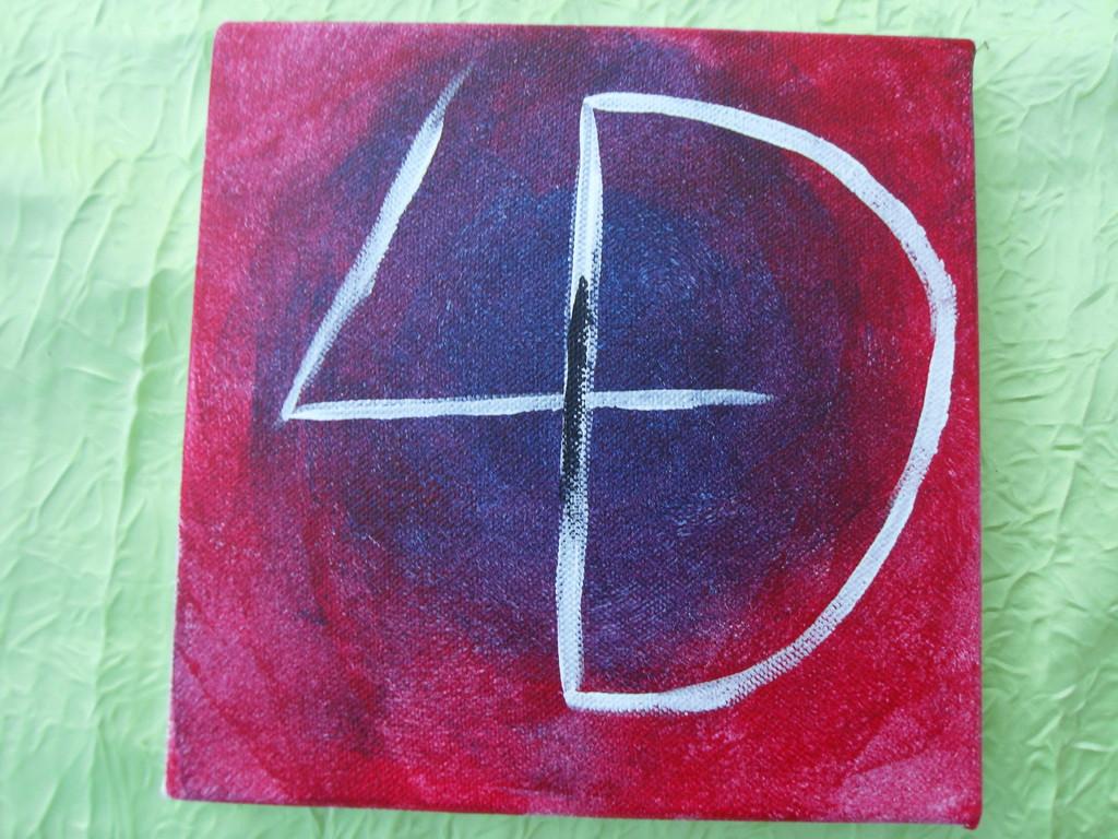 """""""la 4D violette"""", peinture acrylique sur toile 20x20cm, cm"""