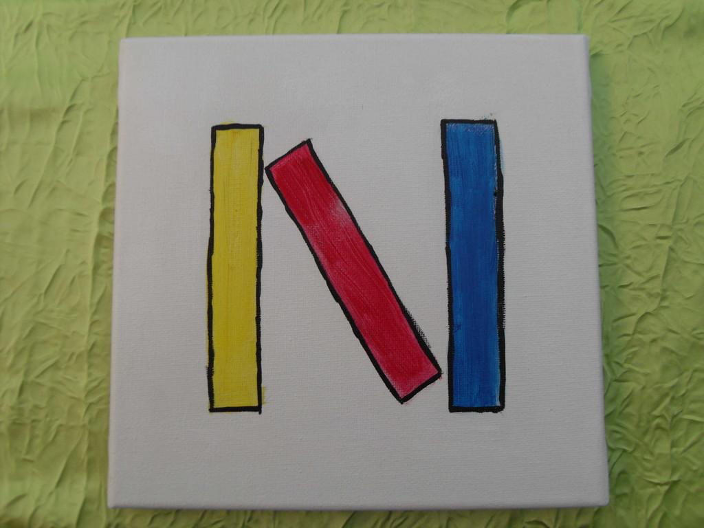 """""""1 trait oblique"""" peinture acrylique sur toile 20x20cm, le 02/01/12, cm"""