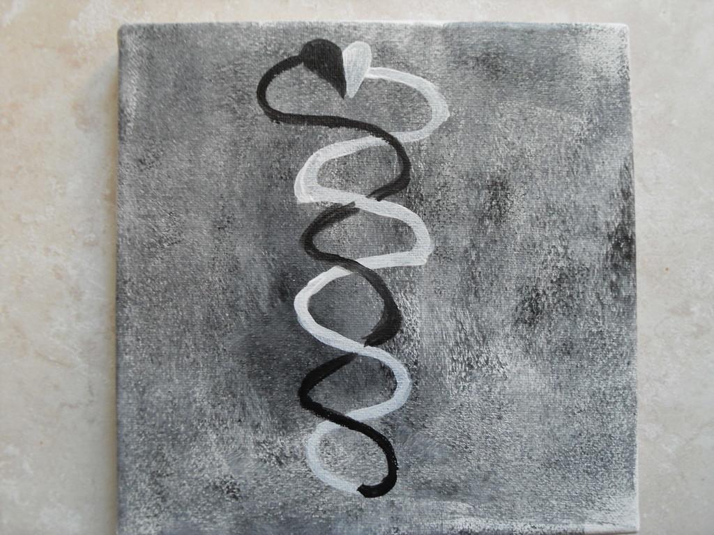 """""""l'unité de la dualité bicolore"""", peinture sur toile 20x20cm, inspirée de la Coupe de Gudea, cm"""