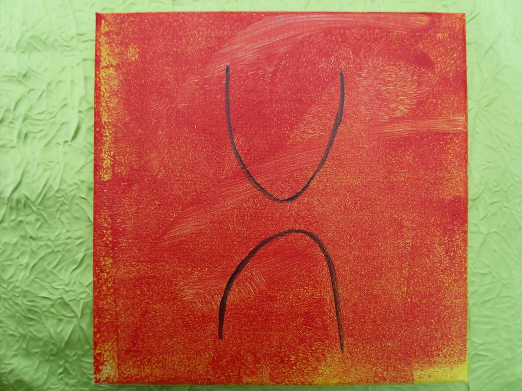 """""""une danse?"""",peinture à l'acrylique 20x20cm,cm le 23/12/11"""