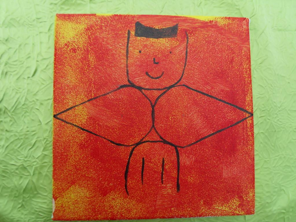 """""""un chat ou un ange?"""",peinture à l'acrylique 20x20cm,cm le 23/12/11"""
