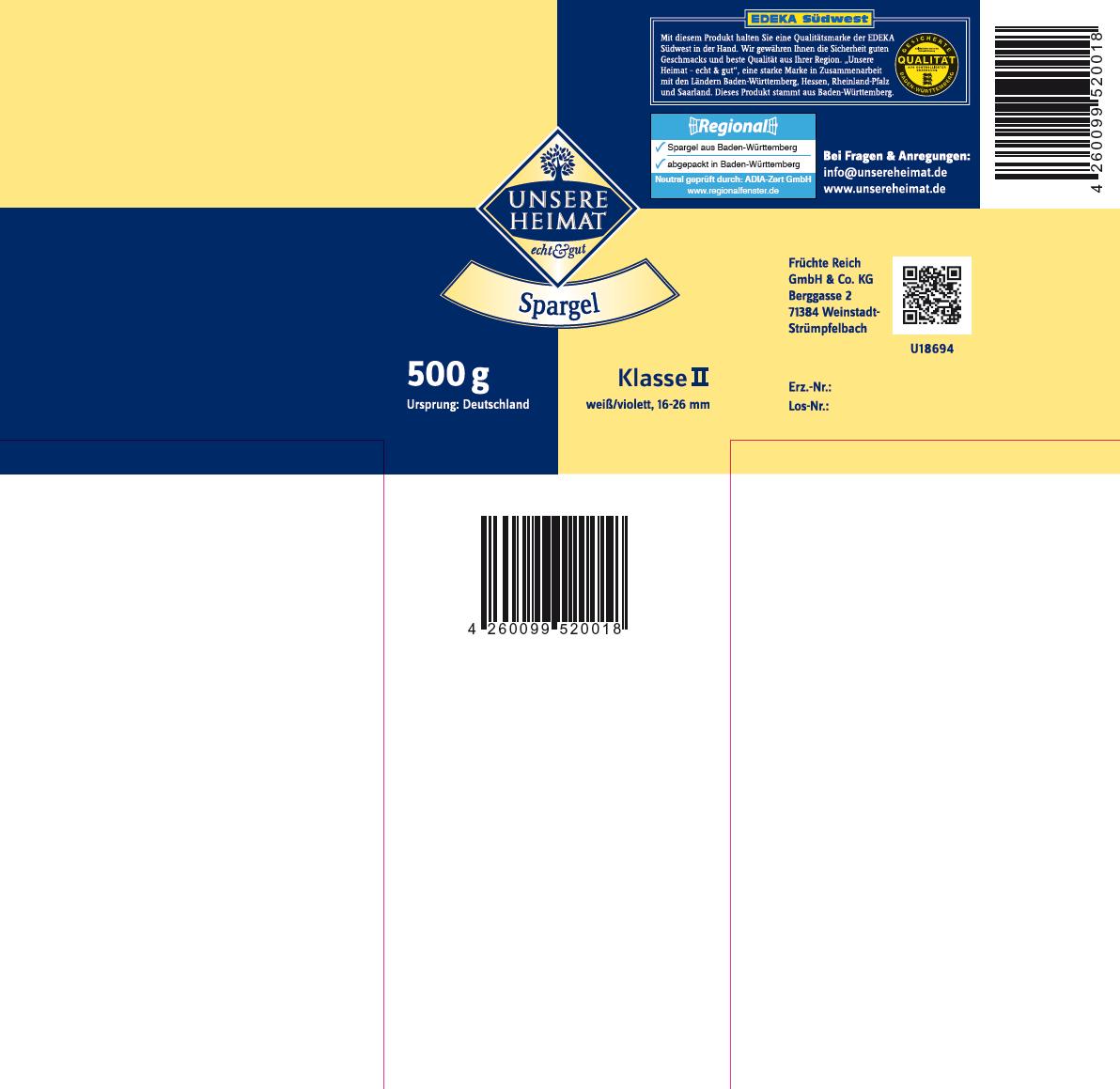 Spargelbanderole Früchte Reich- UNSERE HEIMAT - 500 g