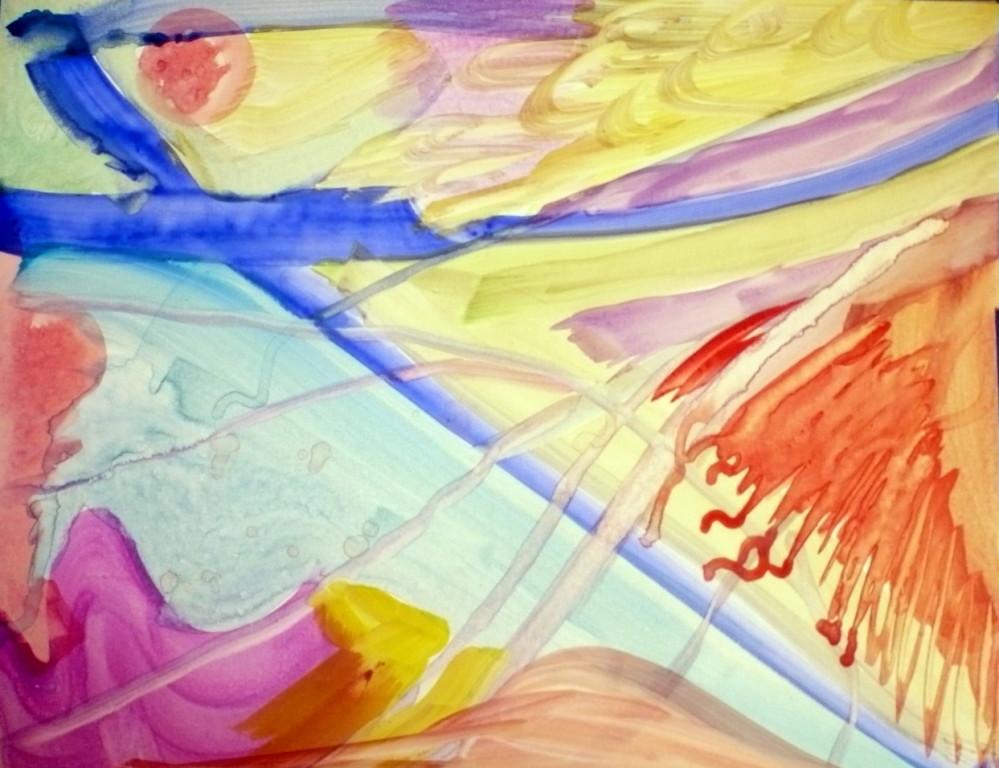 Rote Sonne im blauen Bann - Aquarell 2009
