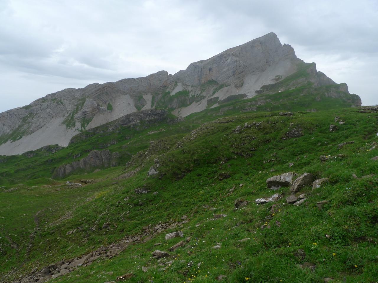 Rückblick zum Chaiserstock, deutlich sichtbar der Einschnitt des Chaisertors