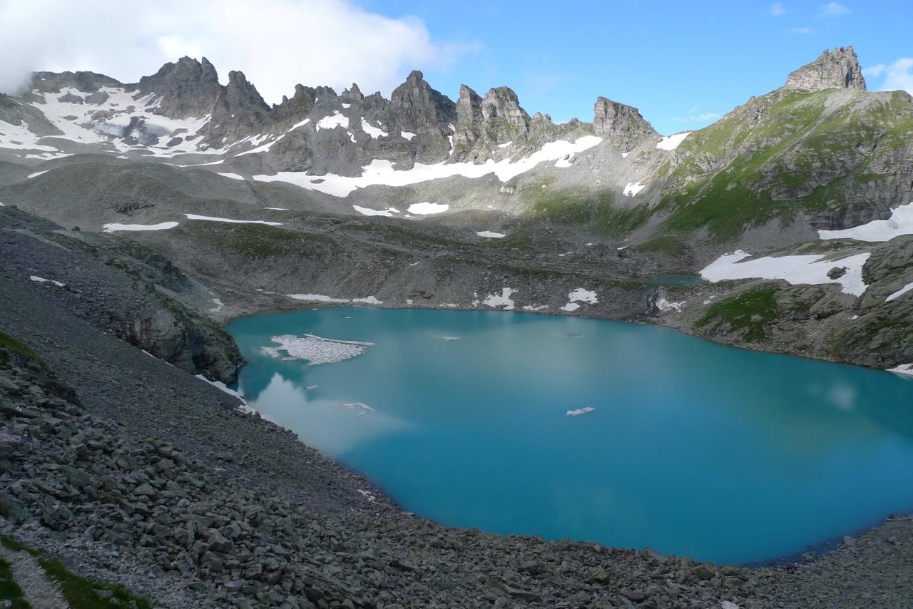 Ausblick auf den Wildsee und dem Pizol mit dem kümmerlichen Rest seines Gletschers