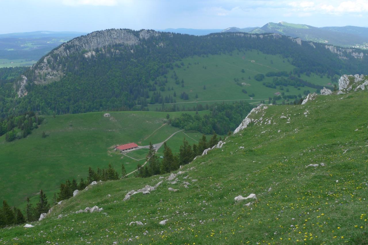 Alp Grange Neuve mit den Aiguilles de Baulmes